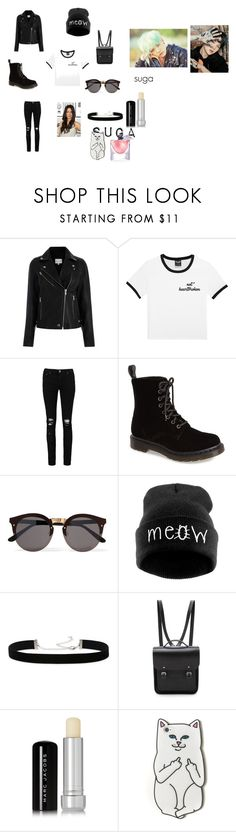 """look de suga version femenino"" by malena-serbo on Polyvore featuring moda, Boohoo, Dr. Martens, Illesteva, WithChic, 2028, The Cambridge Satchel Company, Marc Jacobs, RIPNDIP y Lancôme"