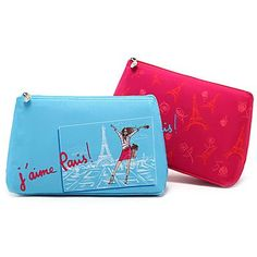 LT Cartoon Colorful Paris Eiffel Tower Clutch Cosmetic Bag Makeup Storage Bag(Red) ** Click on the image for additional details.