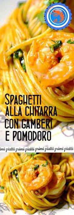 Spaghetti alla chitarra gamberi e pomodoro