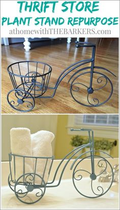Store Iron Plant Stand Repurpose made for a fun makeover. Thrift Store Plant Stand Repurpose for bathroom accessories!Thrift Store Plant Stand Repurpose for bathroom accessories! Art Deco Furniture, Diy Furniture, Furniture Refinishing, Bathroom Furniture, Thrift Store Crafts, Thrift Stores, Metal Plant Stand, Iron Plant, Iron Decor
