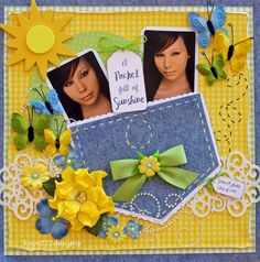 "cute scrapbook page layout idea - ""Pocket Full of Sunshine"" Album Scrapbook, Baby Scrapbook Pages, Scrapbook Layout Sketches, Scrapbook Templates, Scrapbooking Layouts, Scrapbook Paper, Box Photo, Pocket Full Of Sunshine, Cute Scrapbooks"