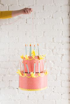 Printable birthday Cake Chandelier What goes better with cake and decorations than something that doubles as both? This Birthday Cake Chandelier is a whimsical addition for your next party! Office Birthday Decorations, Locker Decorations, Diy Party Decorations, Diy Party Hats, Party Party, Party Time, 2nd Birthday Parties, Diy Birthday, Cake Birthday