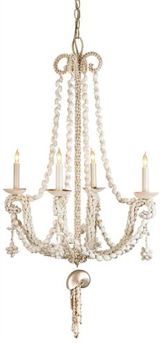 Natural Beachy Shell Wampum Chandelier Lighting | Currey and Company. Contact us to order