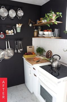 Maria's small kitchen was pretty outdated, out of shape and just not set up to make the most out of the space allotted. Not wanting to spend a ton of time or money, Maria came up with stylish and affordable ways to give her kitchen a sleek new look.