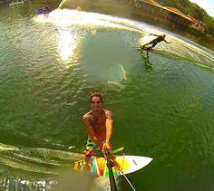 A Lagoa Feia também é um lugar muito utilizado por moradores e turistas para a prática de esportes aquáticos. Olha que foto top essa!  #LagoaFeia #AquiéFormosa #FormosaGo #BlogMochilando #VisitBrasil #Trippics #GoPro  Foto: @marcotuliolobo by formosagooficial