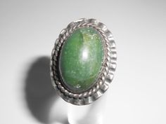 Sterling Green Turquoise Mexico Ring Size 3.5