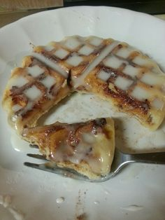 Cinnamon Rolls in the waffle maker....3 min. Warm up icing and drizzle on top...yummo!!