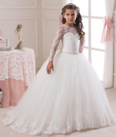 83.01$  Watch now - http://ali82l.shopchina.info/1/go.php?t=32742590408 - ON SALE! Tutu Flower Girl Dress 2017 Ankle Length Bow Sash Long Sleeves O-Neck Ball Gown Button Pageant Ball Gowns for Girls  #buymethat