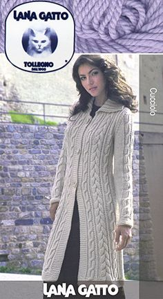 """Lana Gatto Cucciolo Long Cable Front Coat. I love knitted long coats. this is on my """"must make"""" list now."""