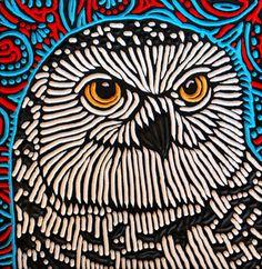 "Snowy Owl painted woodcut block  on salvaged Douglas Fir 10.75"" x 11"" Lisa Brawn 2014"