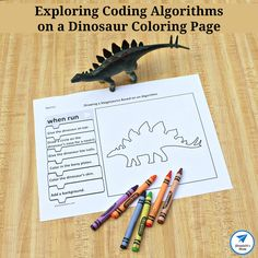 Exploring Coding Algorithms on a Dinosaur Coloring Page - This set has four dinosaur coloring pages. Shark Activities, Drawing Activities, Stem Activities, Activities For Kids, Dinosaur Worksheets, Earth Day Worksheets, Stem Projects, Projects For Kids, How To Make Fireworks