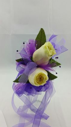 Two White Rose Corsage with Royal Purple and Lavender Accent