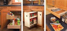 3 Kitchen Storage Projects Squeeze more space from your cabinets with customized roll-outs. by Eric Smith and David Radke It's time to increase the storage space in your kitchen by accessing its underutilized space. Here's how to reclaim that wilderness area underneath the sink, install a mini-pantry and fasten an extra drawer under a cabinet.   Under-Sink Storage Many base cabinets are only half used because the back is inaccessible.The …