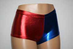 Harley Quinn Suicide Squad Inspired Metallic Cheeky Booty Shorts! Roller Derby July 4th EDC Festival Rave Dance Gym Shiny Stretch Spandex