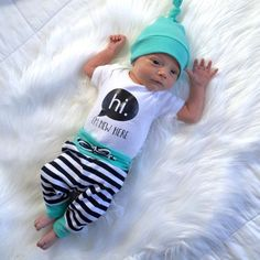 Newborn going home outfit, Coming home outfit, hi im new here, baby gift, gender neutral  baby outfit