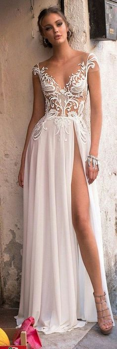 Muse by Berta 2018 Wedding Dresses — Sicily Bridal Campaign muse berta 2018 bridal cap sleeves v neckline heavily embellished bodice high slit skirt sexy romantic soft a line wedding dress open v back sweep train mv — Muse by Berta 2018 Wedding Dresses V Neck Prom Dresses, Wedding Dresses 2018, White Wedding Dresses, Sexy Dresses, Bridal Dresses, Beautiful Dresses, Evening Dresses, Dress Wedding, Dress Prom