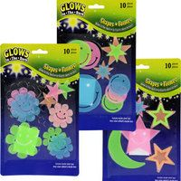 Glow-in-the-Dark Plastic Wall Decorations, 10-ct. Packs