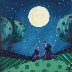Dogs in the moonlight - original art painting
