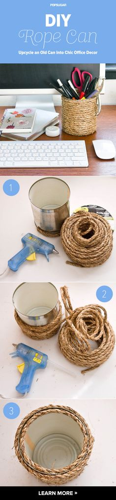 Upcycle an Old Can Into Chic Office Decor by eugenia Fun Crafts, Arts And Crafts, Diy And Crafts, Chic Office Decor, Decoration Ikea, Office Makeover, Organizer, Diy Art, Feng Shui