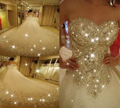 Crystal Super Flash de lujo vestido de bodas de diamante