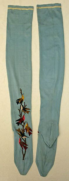 Beautiful French blue silk stockings embroidered with with birds 1885-89
