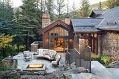 Magnificent mountain style home boasts rustic details in Vail, Colorado #house #outdoors #patio