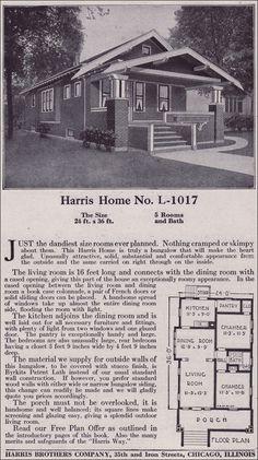 1918 Harris Bros. Co. Kit Home Catalog - Plan L-1017 - Single-story Craftsman-style Bungalow