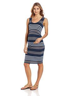Ripe Maternity Womens Maternity Stripe Nursing Dress