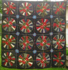Antique Wagon Wheels Quilt 1890's West Virginia