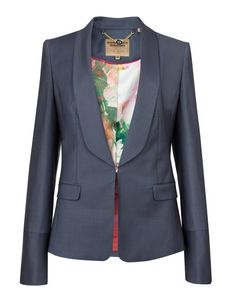 LAEL - Shiny wool suit jacket - Ash | Womens | Ted Baker