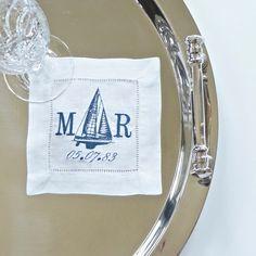 Double Monogram Yacht Cocktail Napkins, nautical sailboat embroidered cocktail napkins, table linens, wedding napkins, hostess gift