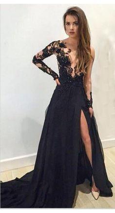 Sexy V-neck Long Sleeve Black Lace Split Prom Dresses Evening Dresses