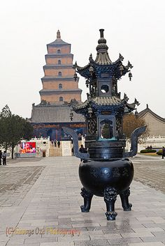 Ornamental Incense Burner in the Courtyard of the Big Wild Goose Pagoda; Xian; Shaanxi; China by George Oze, via Flickr