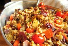 Recipe: Warm Farro Salad with Roasted Vegetables and Fontina (could sub brown rice for farro & use zucchini instead of carrots if its summer)