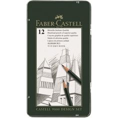 Graphite pencil CASTELL 9000 Design set - The Design Set contains 12 CASTELL 9000 pencils in hardness grades 5B - 5H. Ideally suited for drawing in the field of industrial design or fine detail drawings.