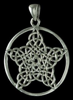 """This beautiful pice features an intricately woven cletic knot in the form of a pentagram; contained by a simple silvery hoop. Measures aprox. 1 1/4"""" This jewelry is made of Nebula, a fine metal created by fusing Hydrogen and Oxygen with a tin and zinc base to create a stunning silver-like finish that is Nickel and Lead free as well as hypoallergenic."""