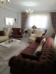 Hall Symmetrical layout Brown Backdrop curtain Dining Room Console Carpet O Living Room Living Room Sofa Design, Home Living Room, Living Room Designs, Living Room Decor, Bedroom Decor, Luxury Home Furniture, Home Decor Furniture, Furniture Design, Dining Room Console