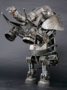 Steampunk Sculpture Еlephant on two Feet by Andrew Chase