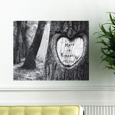 Personalized Tree of Love with the bride and groom's name and wedding date.