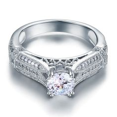 Vintage Style 1 Ct CZ Cubic Zirconia Sterling Silver Ring by CubicZirconiaRings, $39.95