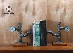 Original Handmade Industrial Machine Age Steampunk Pipe and Gauge Bookends Model #25A on Etsy, $70.00