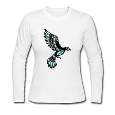This Teal Blue Haida Bird Long Sleeve Shirt is printed on a Long Sleeve Shirt and designed by UniqueArtDesign. Available in many sizes and colours. Buy your own Long Sleeve Shirt with a Teal Blue Haida Bird design at Spreadshirt, your custom t-shirt printing platform!