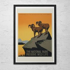 High Quality Fine Art Reproduction of a Vintage Travel Poster originally made in the 1930s. National Parks Travel Poster reproduction.
