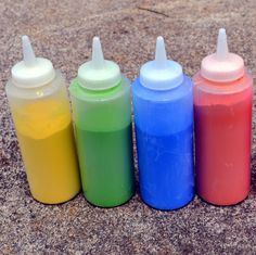 Squeeze bottles make awesome color war weapons!