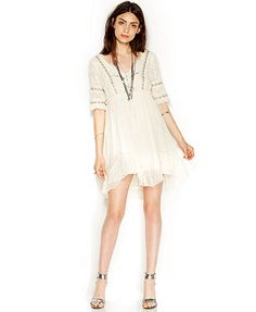 Free People Three-Quarter-Sleeve Lace Babydoll Dress