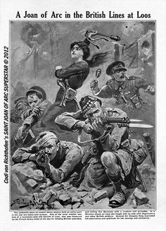 A Joan of Arc in the British Lines at Loos - Stanley L. Wood for The War Illustrated, December 4, 1915