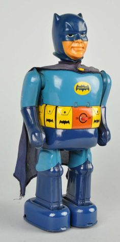 Japanese Battery-Operated Batman Walking Figure. : Tin litho. Made by T.N. Japan.
