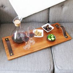 Wood tray with leather handles
