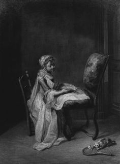 """Attributed to Jean-Baptiste Greuze (1725‒1805), """"A Girl and a Kitten,"""" undated. Oil on canvas, 12 3/4 x 9 1/4 in. Photographed in April 1954 in Somerset, England. The Frick Collection / Frick Art Reference Library Photoarchive. #childrenandpets #kittens #fricklibrary"""