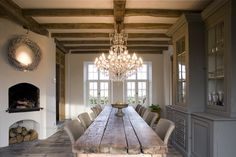 chandelier, rustic dining table